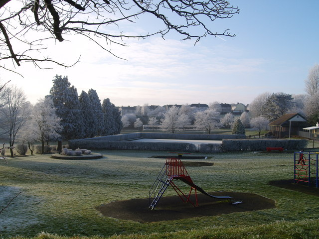 Heavy frost at the park
