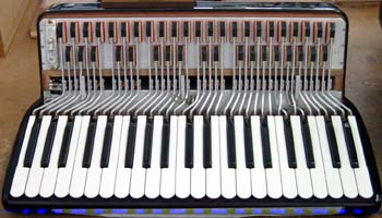 The inside part of the keyboard of an accordio...