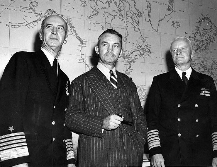 From left to right: Fleet Admiral Ernest J. Ki...