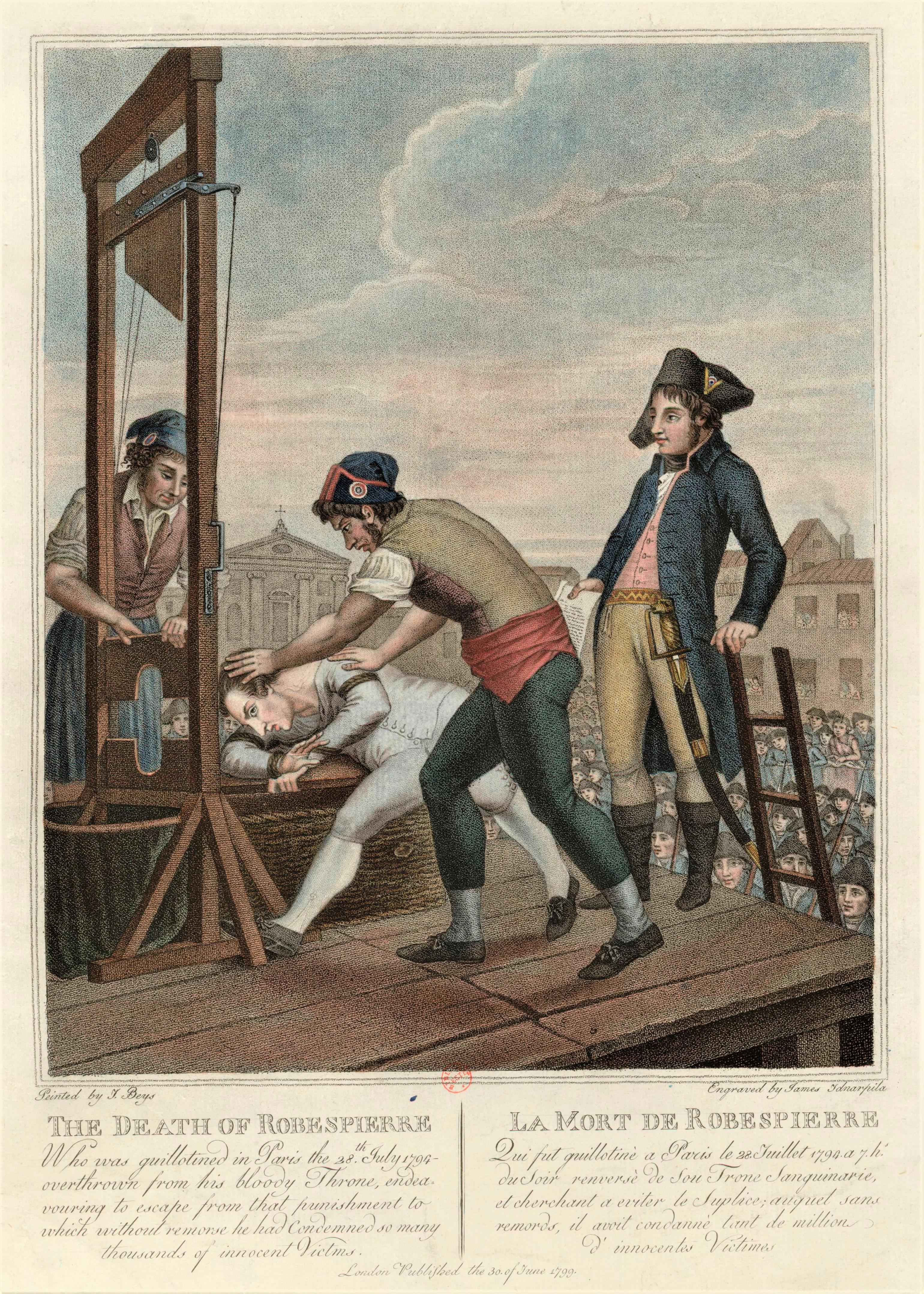 L'execution de Maximilien de Robespierre a la guillotine
