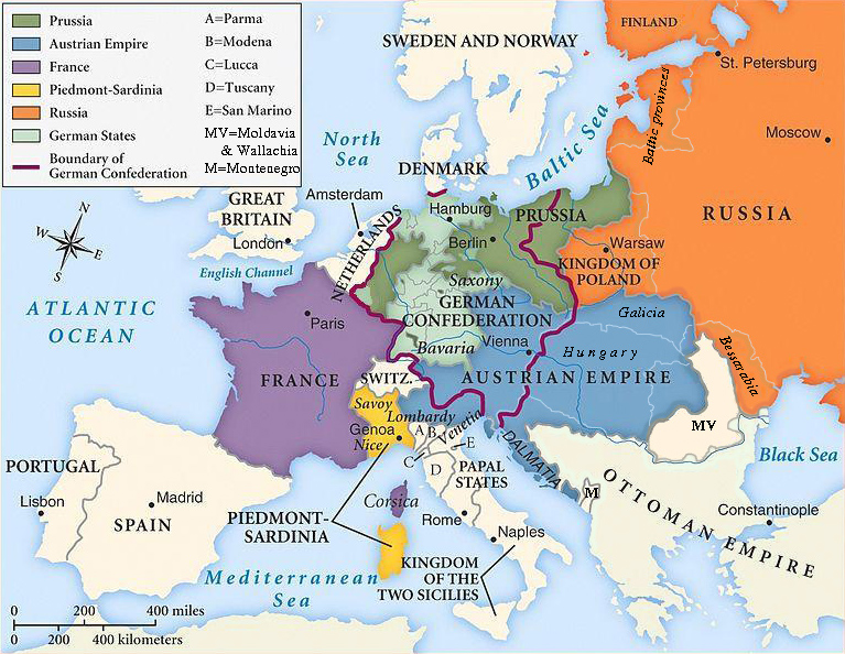 Map of Europe agreed by the Congress of Vienna