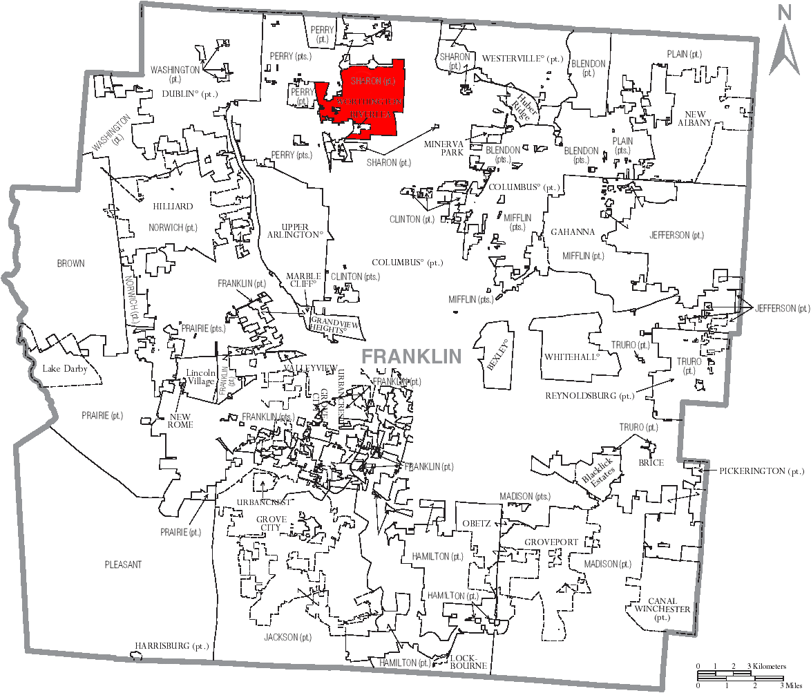 File Map Of Franklin County Ohio With Worthington Labeled Png