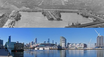 Melbourne Docklands urban renewal project, a transformation of a large disused docks area into a new residential and commercial precinct for 25,000 people Melbourne docklands urban renewal.jpg