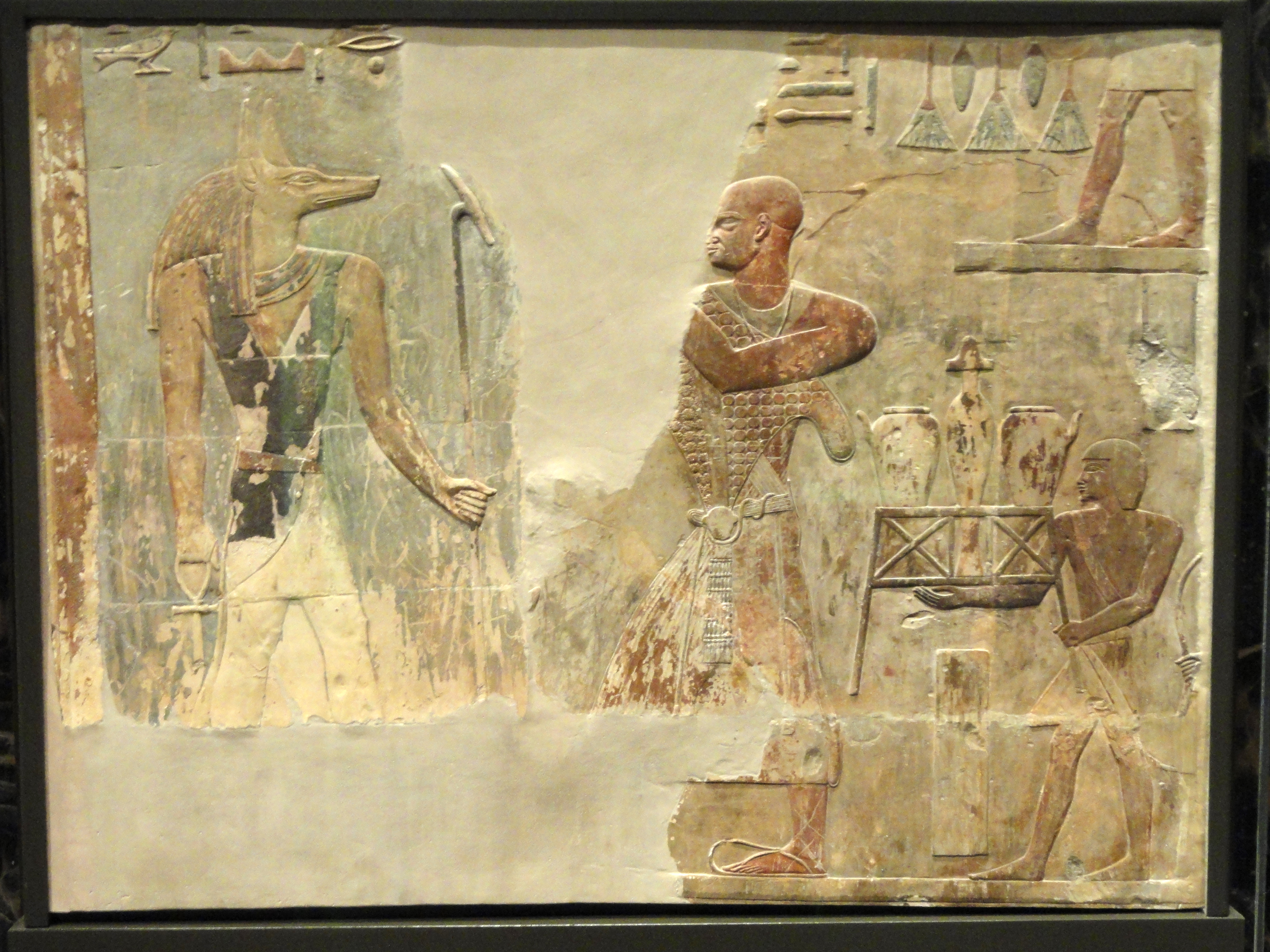filementuemhat and anubis relief thebes late 25th to