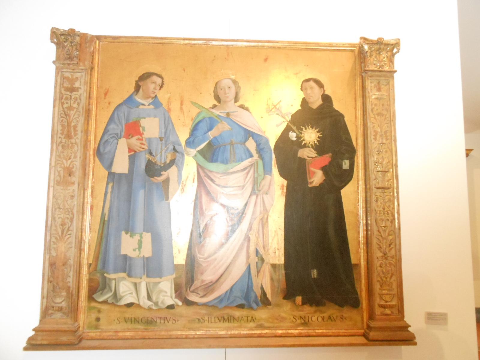 Den hellige Illuminata mellom de hellige Nikolas av Tolentino og Vincent, maleri i kirken Santa Illuminata i Montefalco i provinsen Perugia i regionen Umbria