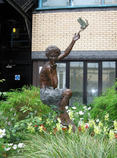 Peter Pan statue at Great Ormond Street Hospital by Diarmuid Byron O'Connor Peter Pan statue by Diarmuid Byron O'Connor.JPG
