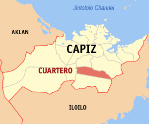 Map of Capiz showing the location of Cuartero