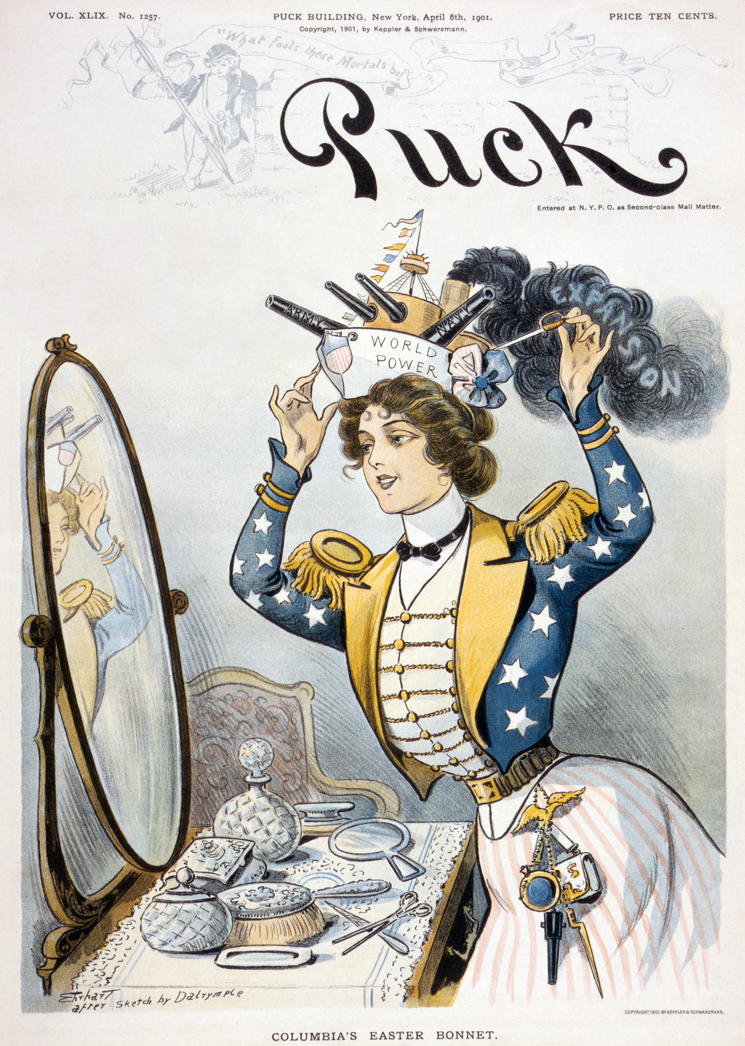 american imperialism on the cover of puck published on 6 1901 in the wake of gainful victory in the spanish american war columbia the national personification of the