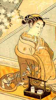 An oiran preparing herself for a client, ukiyo-e print by Suzuki Haronubu (1765)
