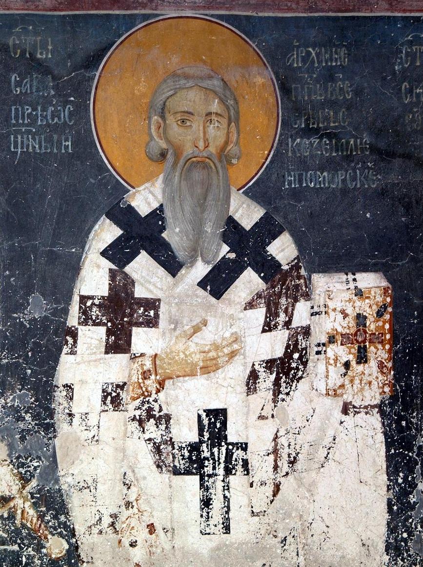 Freske av Sabas i Kongens kirke i klosteret Studenica