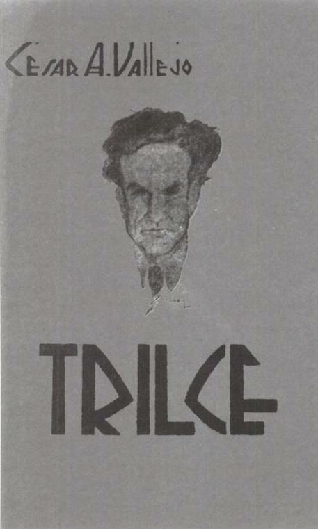Cubierta de la primera edición de Trilce, con el retrato del poeta.