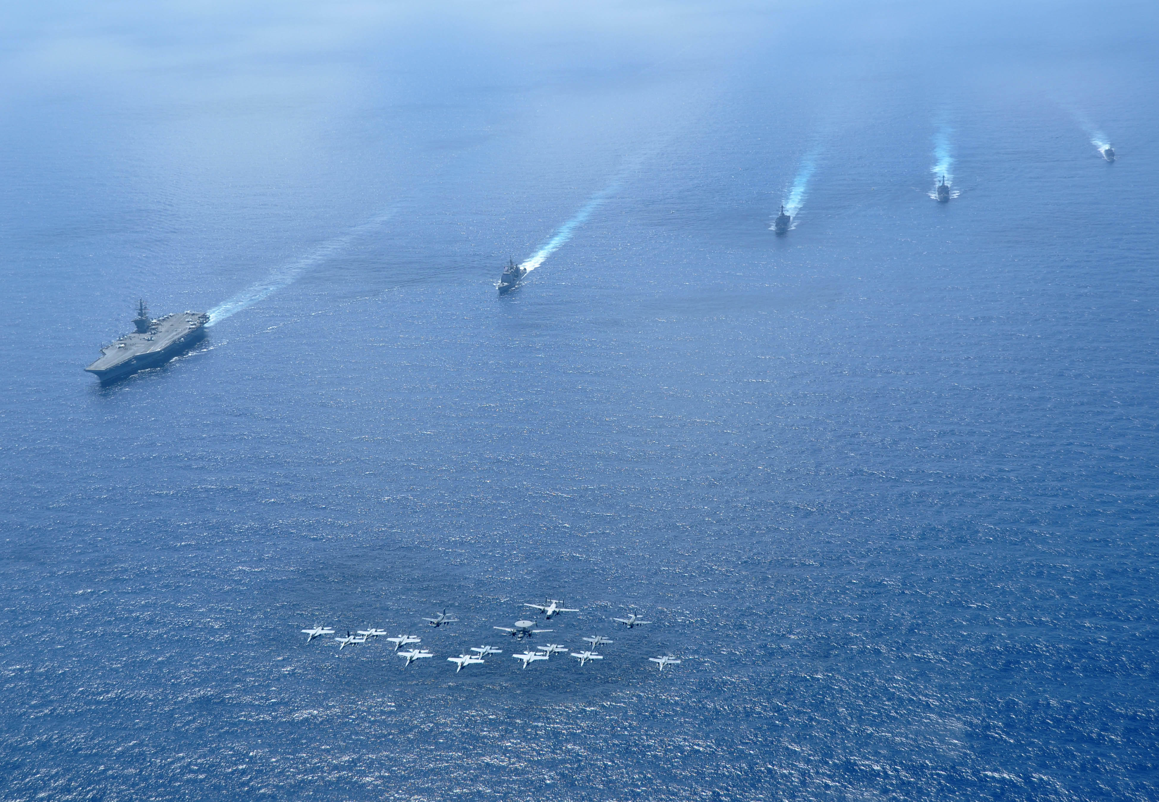 US Navy Strike Force 11 in South China Sea, in full aircraft and naval ship formations; 2010