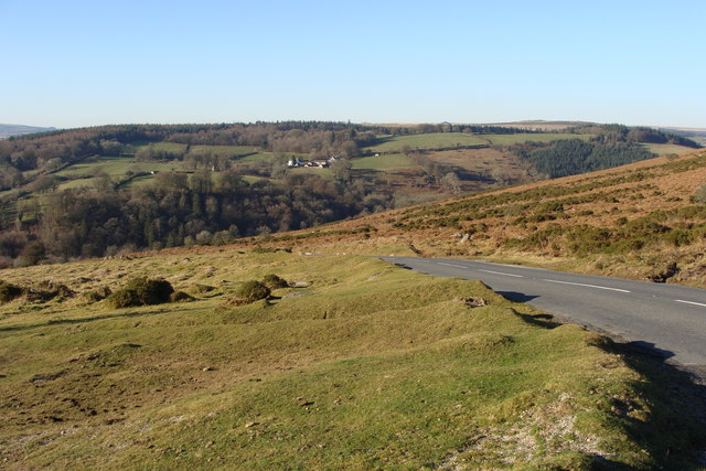 Unfenced Dartmoor road leading to Dartmeet - geograph.org.uk - 1106304