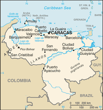 An enlargeable basic map of Venezuela