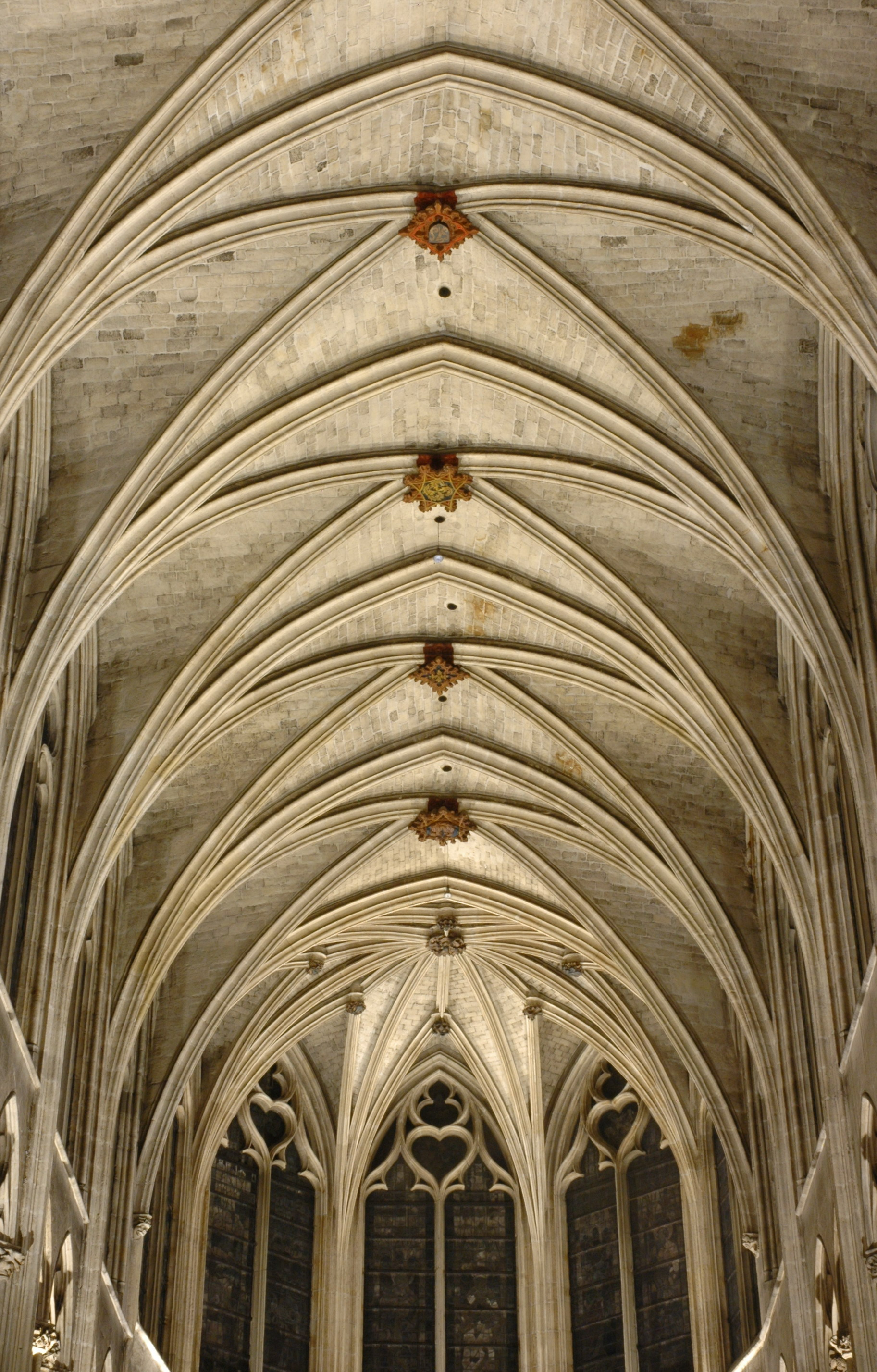 Gothic Rib Vault Ceiling Of The Saint Severin Church In Paris