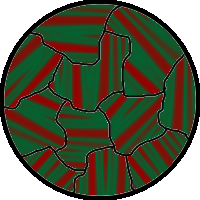 Kerr micrograph of metal surface showing magnetic domains, with red and green stripes denoting opposite magnetization directions.