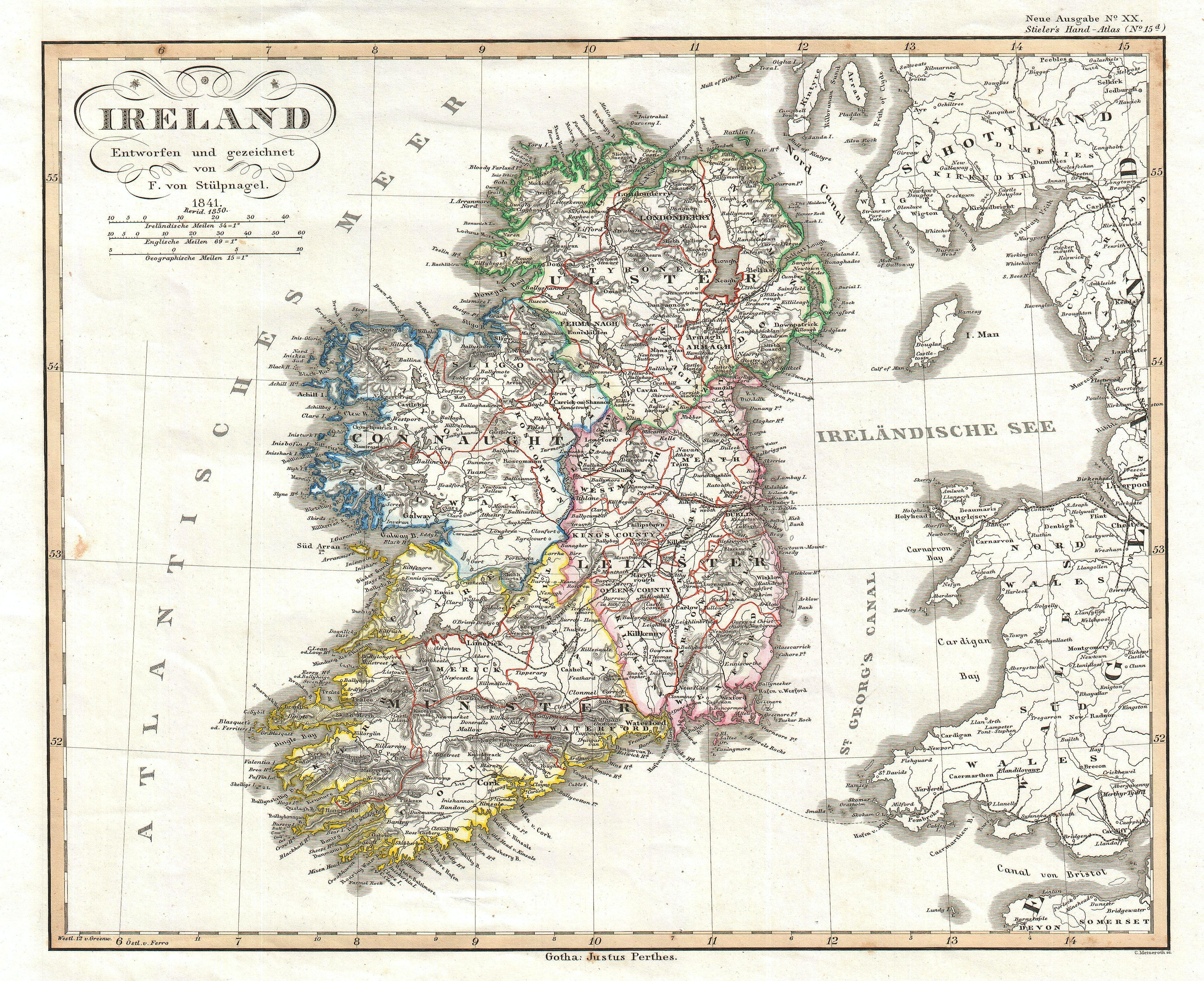 Map Of Ireland Jpg.File 1841 Perthes Map Of Ireland Geographicus Ireland Perthes