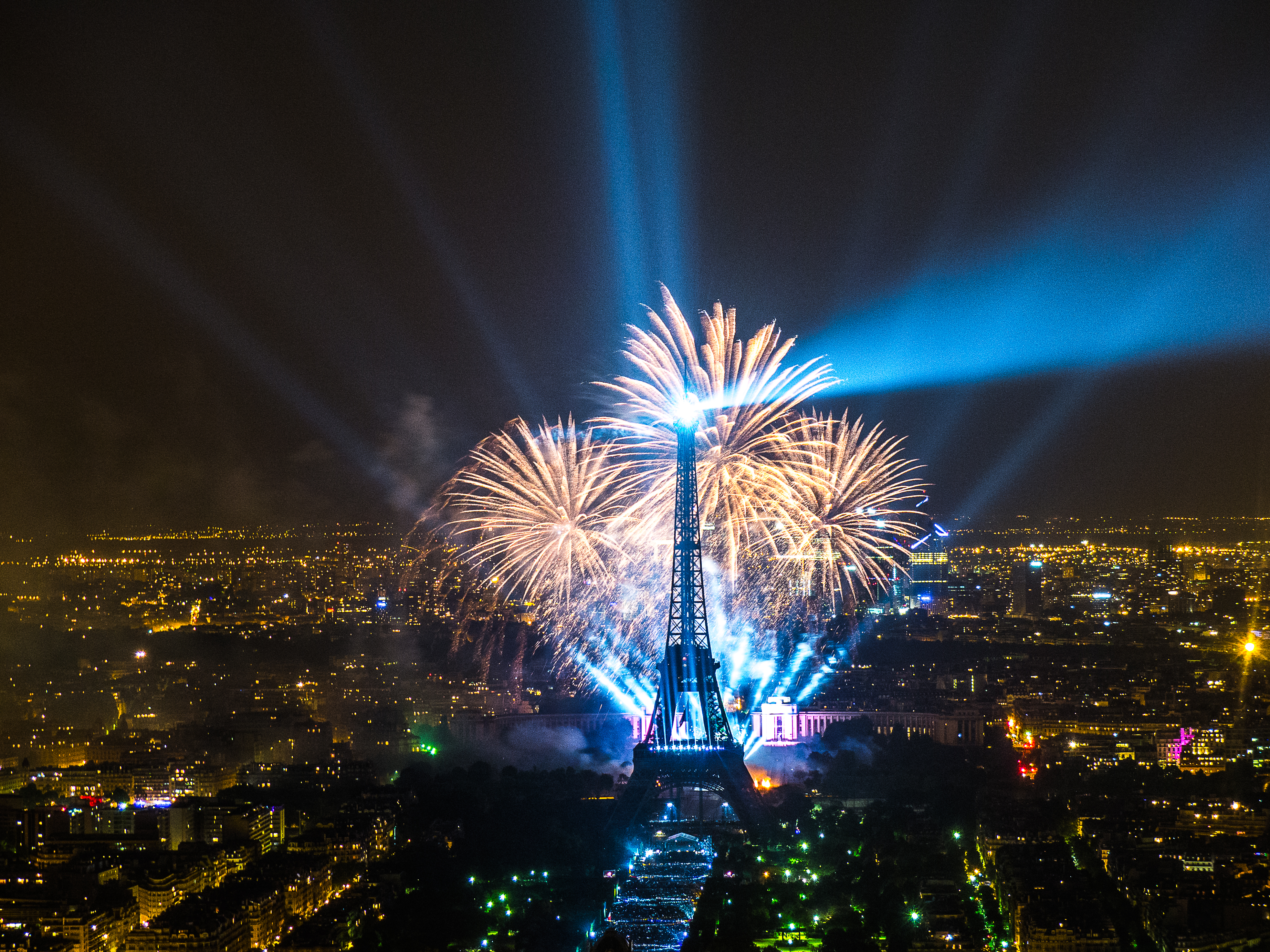 Eiffel Tower Paris At Night With Fireworks