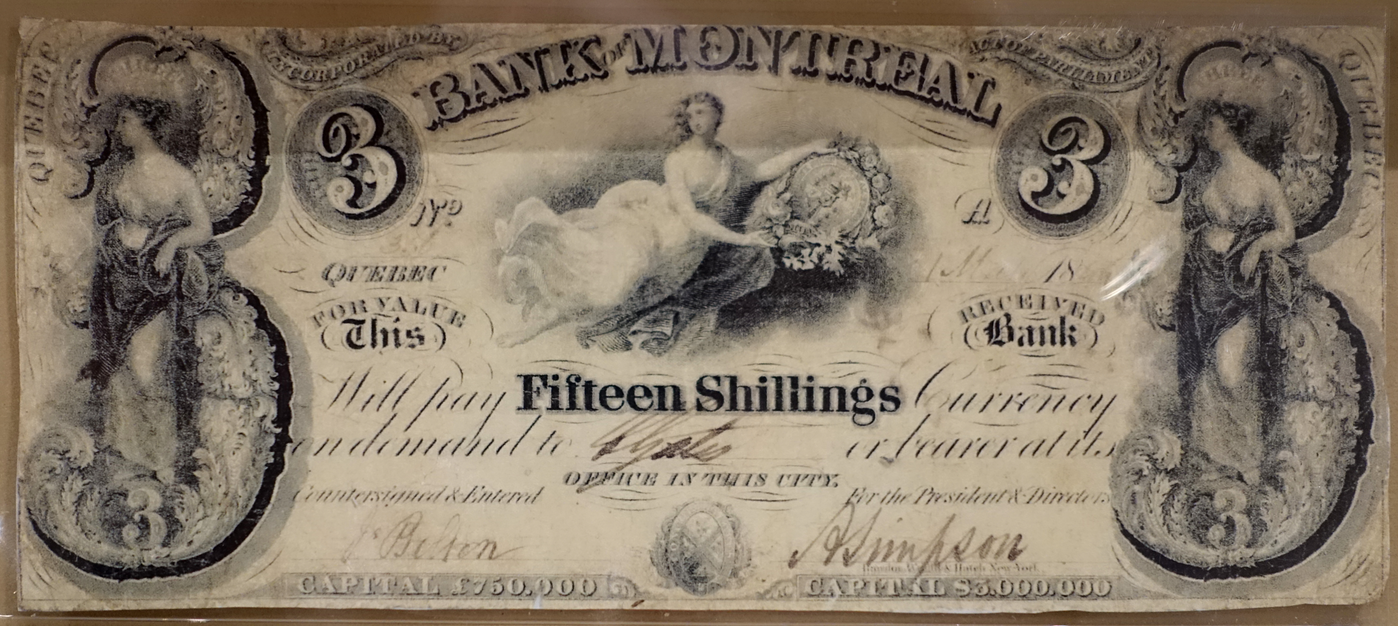 File 3 Dollars 15 Shillings Bank Of Montreal 1844