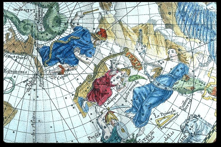 Andromeda and Cassiopeia - Philippe La Hire, Planisphere celeste, 1705