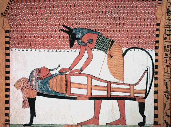 File:Anubis attending the mummy of Sennedjem.jpg
