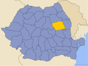 Administrative map of Руминия with Бакау county highlighted