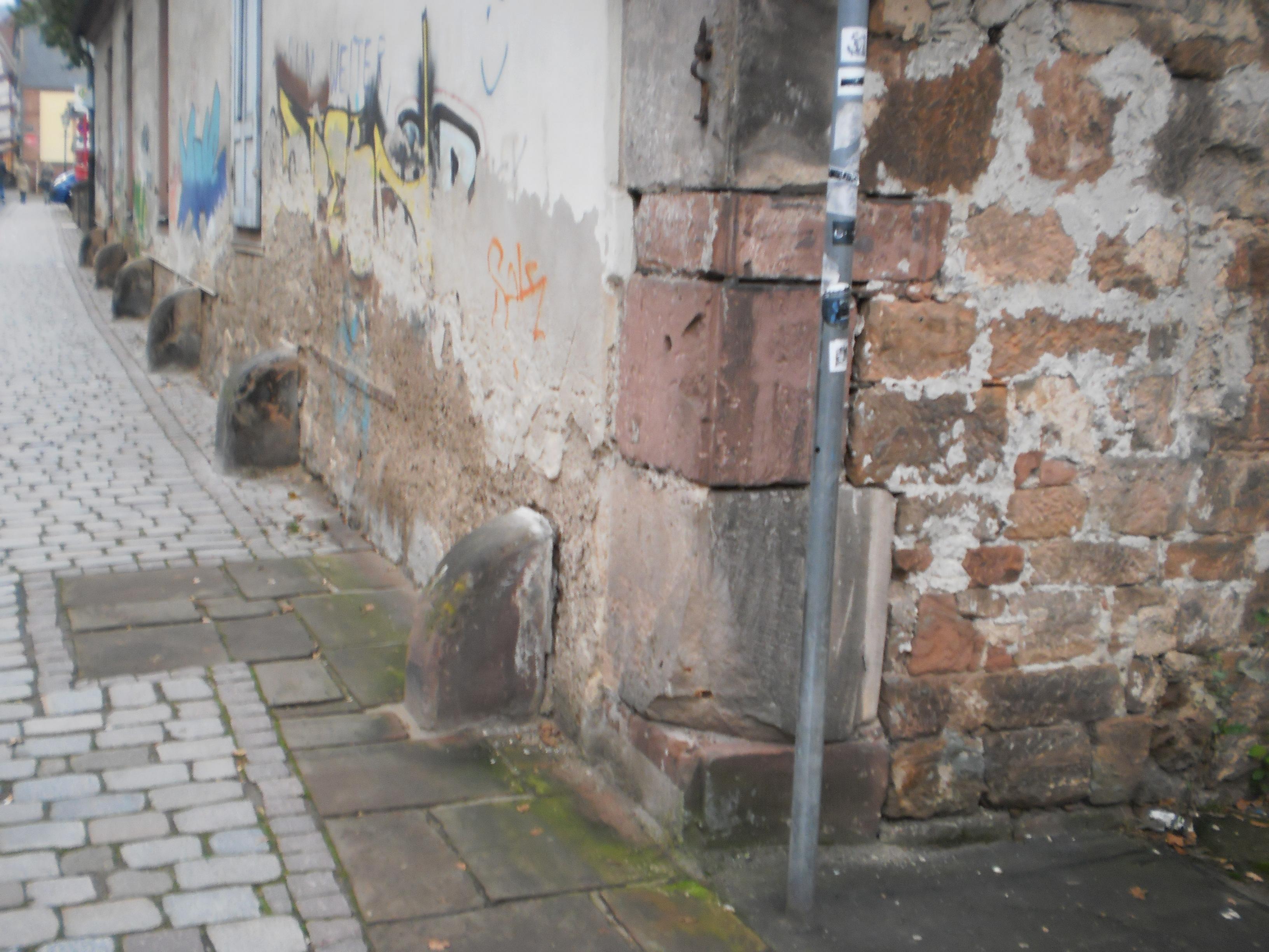 A row of jostle stones in Marburg, Germany