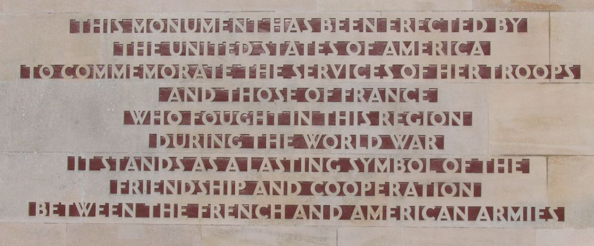 Dedication text in English on the Château-Thierry American Monument.