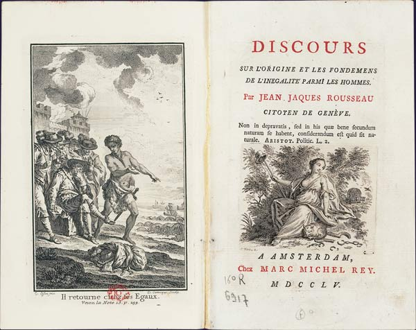 Rousseau (1755) [1754], Discourse on Inequality, Holland, frontispiece and title page .