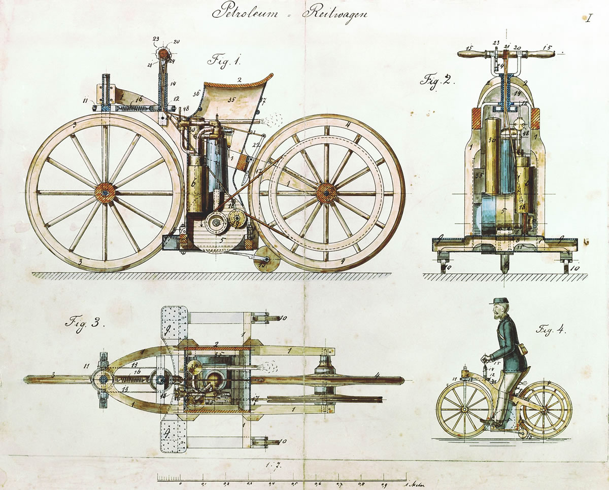 Drawings from 1884 showed a twist grip belt tensioner, complex steering  linkage and used a belt drive. The working model had a simple handlebar and  used a ...