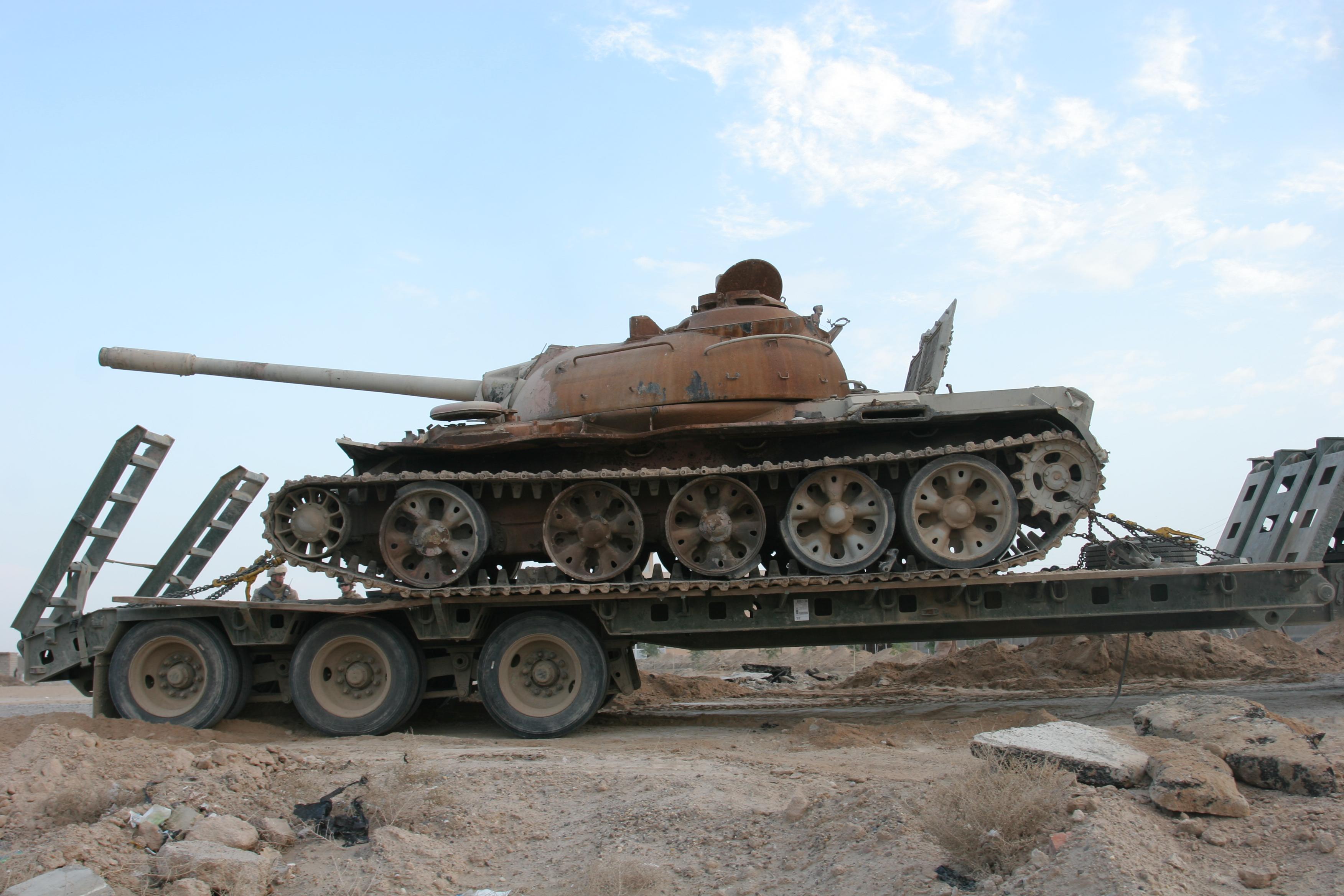 File:Damaged Iraqi T-55A tank.on a trailer on Al Anbar ...