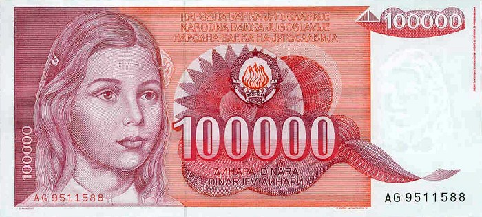 Between 1988 And 1989 The Yugoslavian Dinar S Largest Denomination Switched From 50 000 To 2 Notes New Replaced In 1992