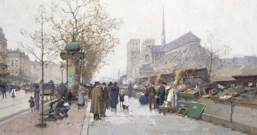 Eugène Galien-Laloue Paris Bouquinistes sur le quai de Tournelle.jpg