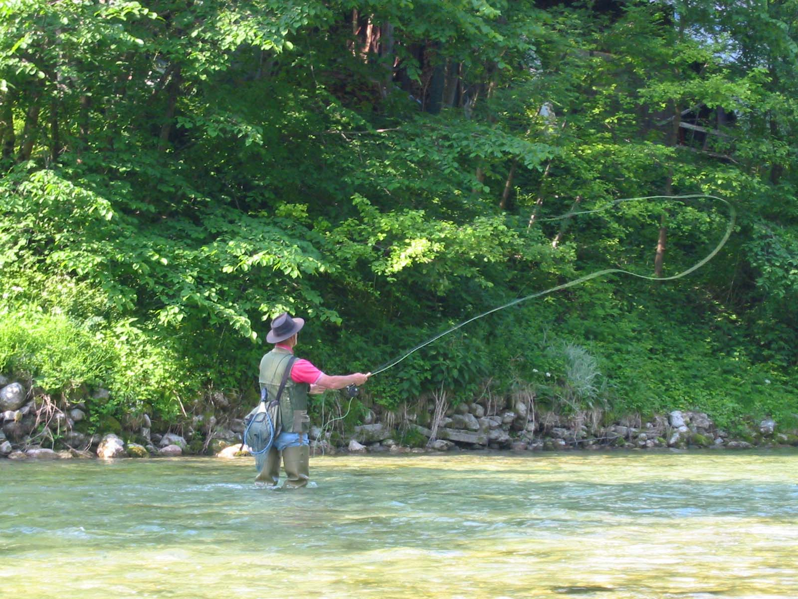 Flyfishing on river Sava Bohinjka, Slovenia