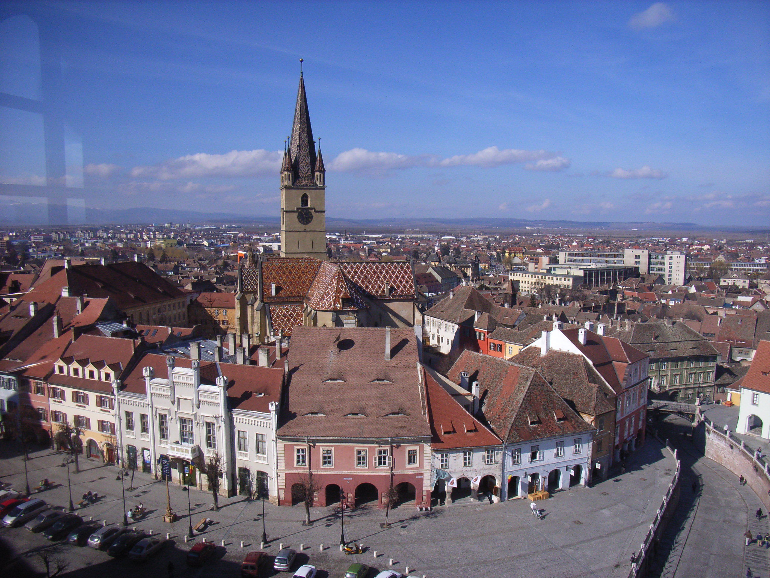 View from Council Clock Tower to Piata Mica, Sibiu ...