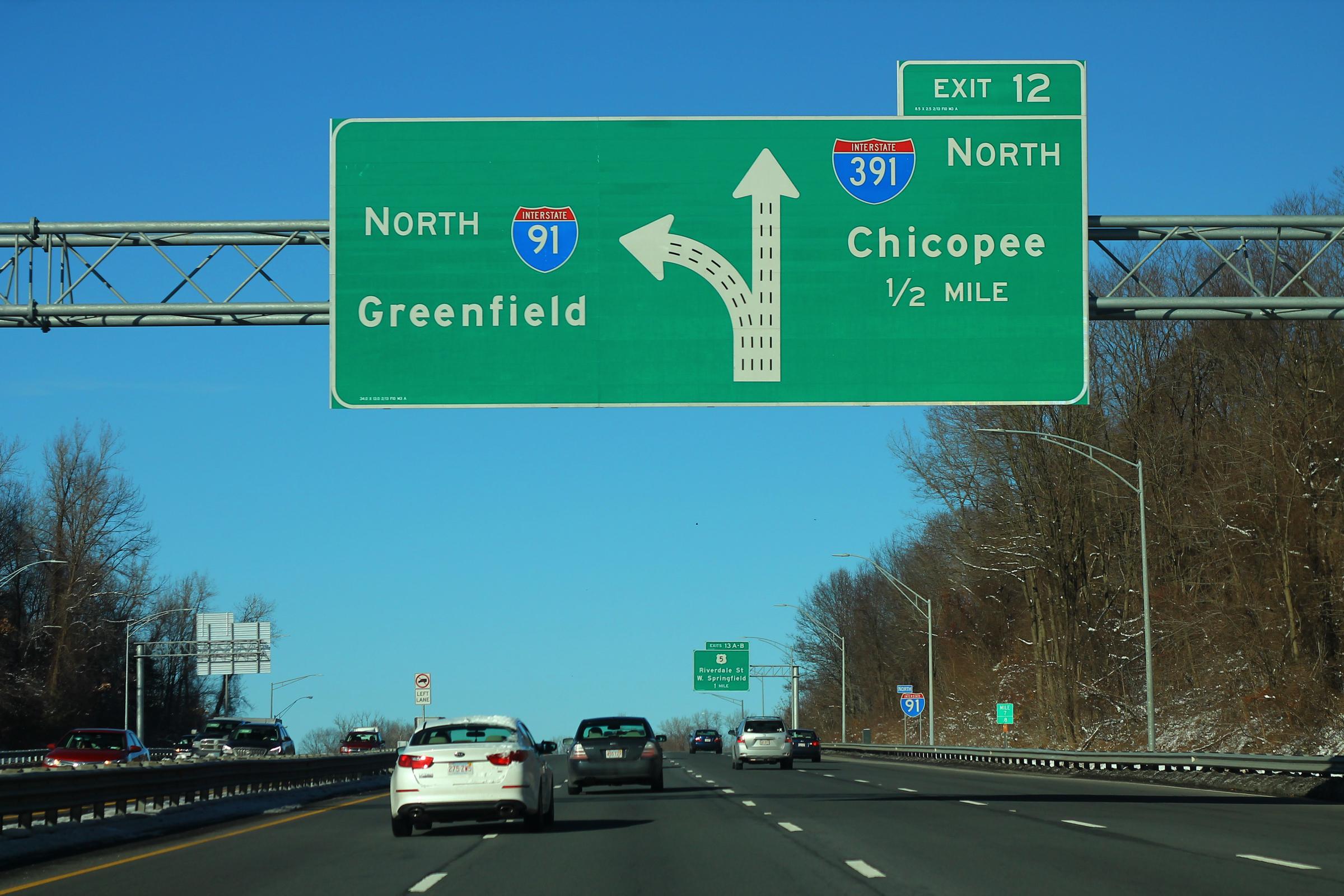 File:I-91 North - Exit 12 - Interstate 391 North