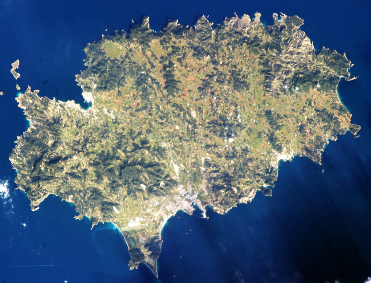 Satellite photo (2013) showing terrain and towns as lighter areas: Ibiza Town (bottom central bay), Sant Antoni (upper left bay) and Santa Eulària (lower right). Airport runways cross the southern point.