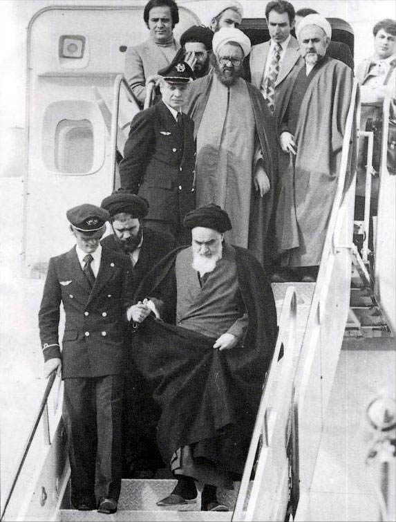 Ayatollah Khomeini returns to Iran on February 1, 1979 Imam Khomeini in Mehrabad.jpg