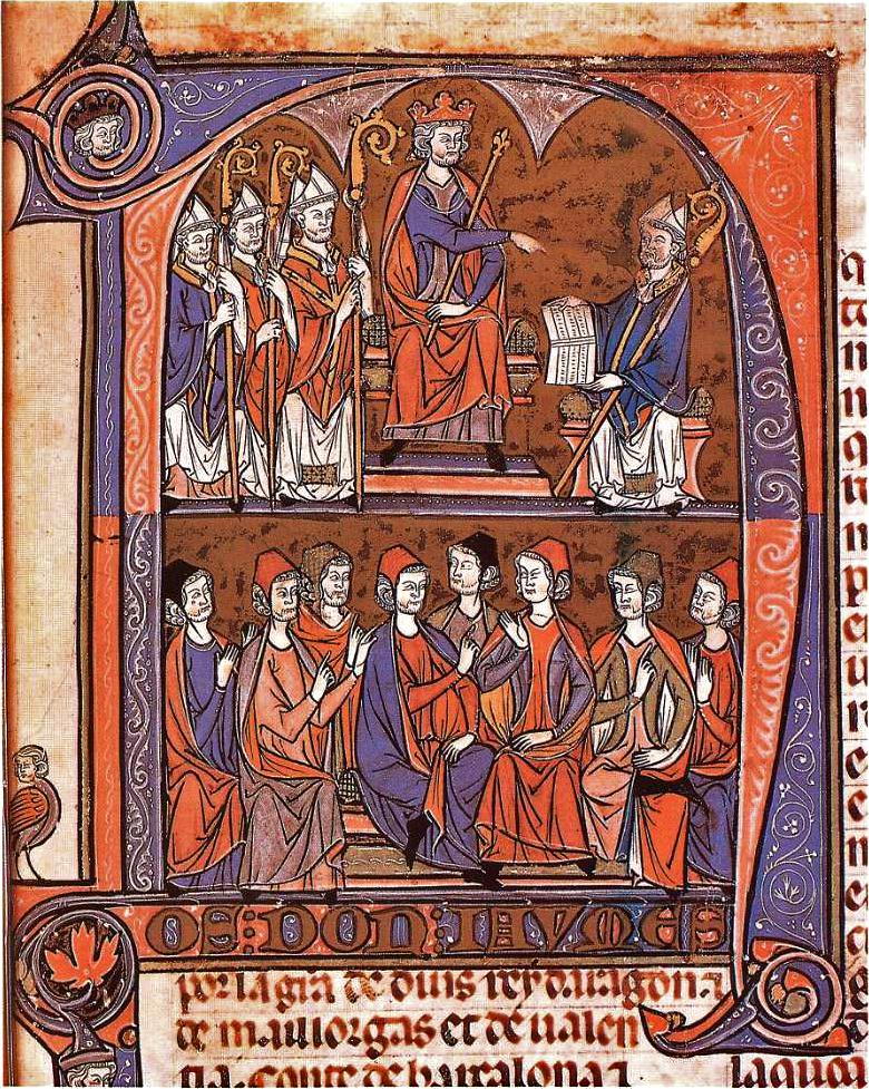 Jaime I de Aragón recibiendo del obispo y jurista Vidal de Canellas los Fueros de Aragón ante otros magnates eclesiásticos.