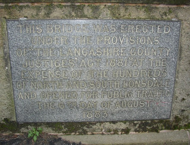 Inscribed stone on the Lune Bridge, Crook o' Lune, Caton - geograph.org.uk - 639667