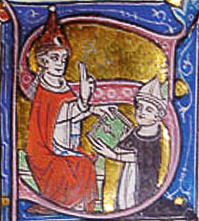 14th-century illustration of Gui receiving a blessing from [[Pope John XXII]]