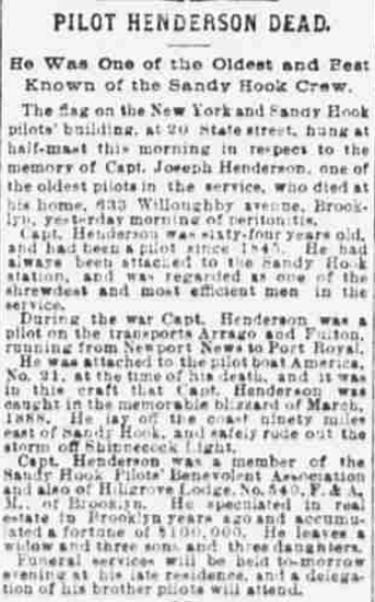 English Joseph Henderson (1826-1890) obituary in The Evening World of New York, New York on October 8, 1890