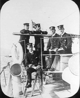 Lieutenant Keyes (sitting) with other officers aboard the destroyer HMS Fame in 1900 Keyes HMS Fame 1900 AWM A05029.jpg