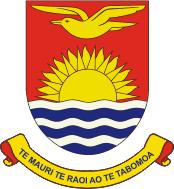 """The motto of Kiribati, Te mauri, te raoi ao te tabomoa (""""Health, Peace and Prosperity""""), is shown on the coat of arms."""