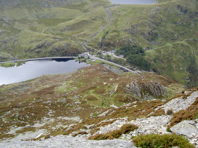 Looking back down the mountainside towards Ogwen Cottage - geograph.org.uk - 971451