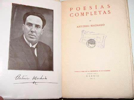 Página de título de la primera edición de las Poesías completas de Antonio Machado, con autógrafo y foto del autor (tomada hacia 1917, en su etapa de profesor en Baeza). Fondos de la Biblioteca del Ateneo de Madrid.