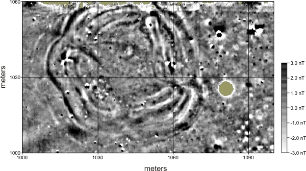 Geophysical image depicting the subsurface archaeological footprint of a Great Bend aspect council circle Magnetic image of council circle.jpg
