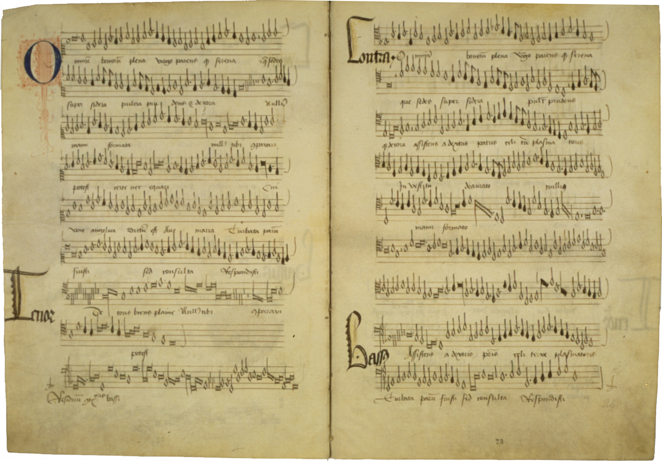Manuscript of ''Omnium bonorum plena'', a motet by Compère, and possibly his earliest surviving work; the exact date is uncertain, but it was possibly written for the dedication of Cambrai Cathedral on 2 July 1472.