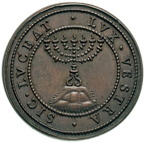 Reverse of 1590 coin in honor of Urban VII with menorah and the legend SIC*LUCEAT*LUX*VESTRA (Let your light so shine - Matt. 5:16) Menorah (Temple) mnvrt byt hmqdSH Temple vessels Vatican mdlyyh SHyTSA `y hvvtyqn bSHnt 1590 b`t mynvy hApypyvr Avrbnvs hSHby`yAvrbnvs.JPG