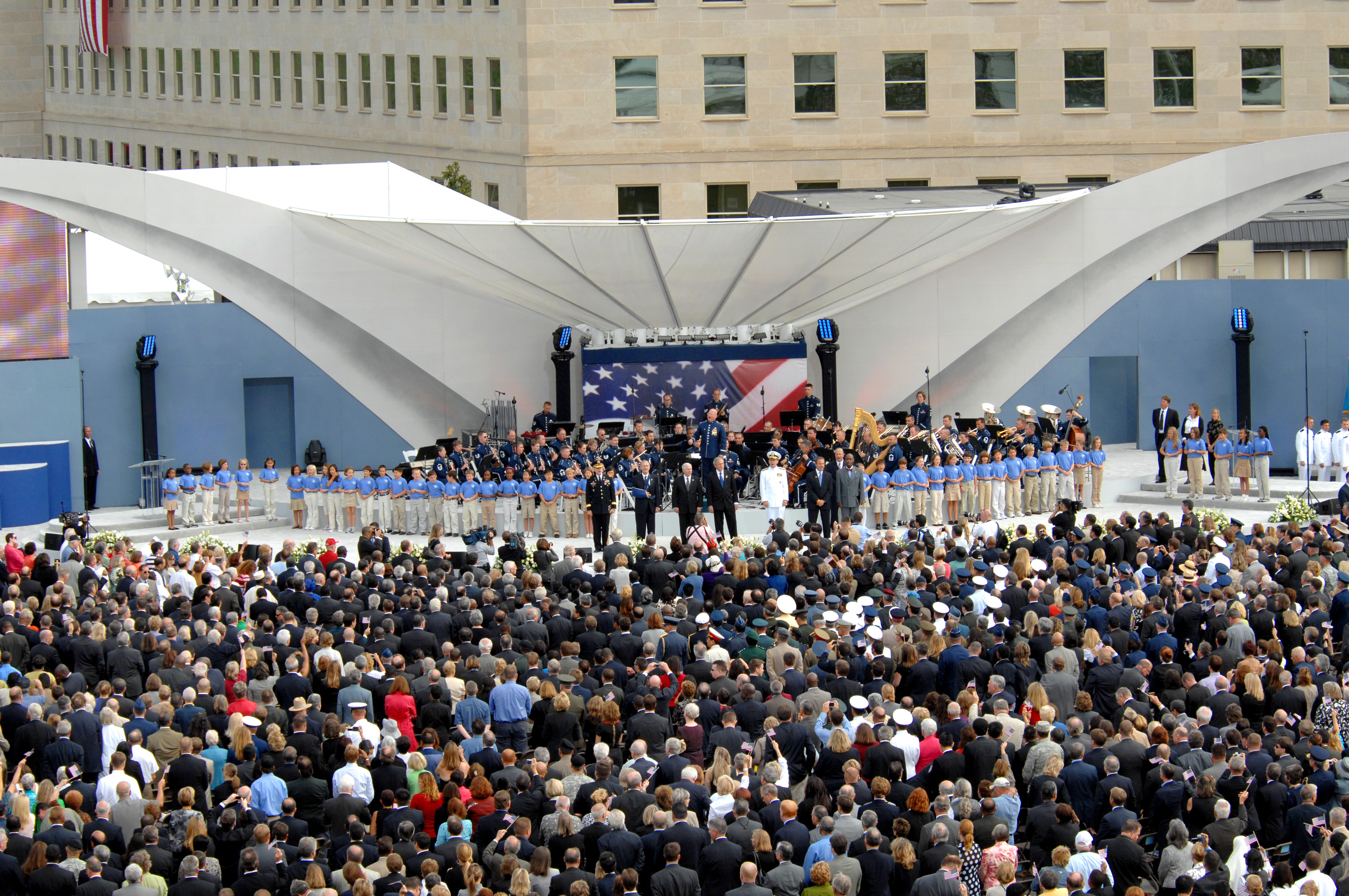 Pentagon Memorial dedication 2008 Crowd